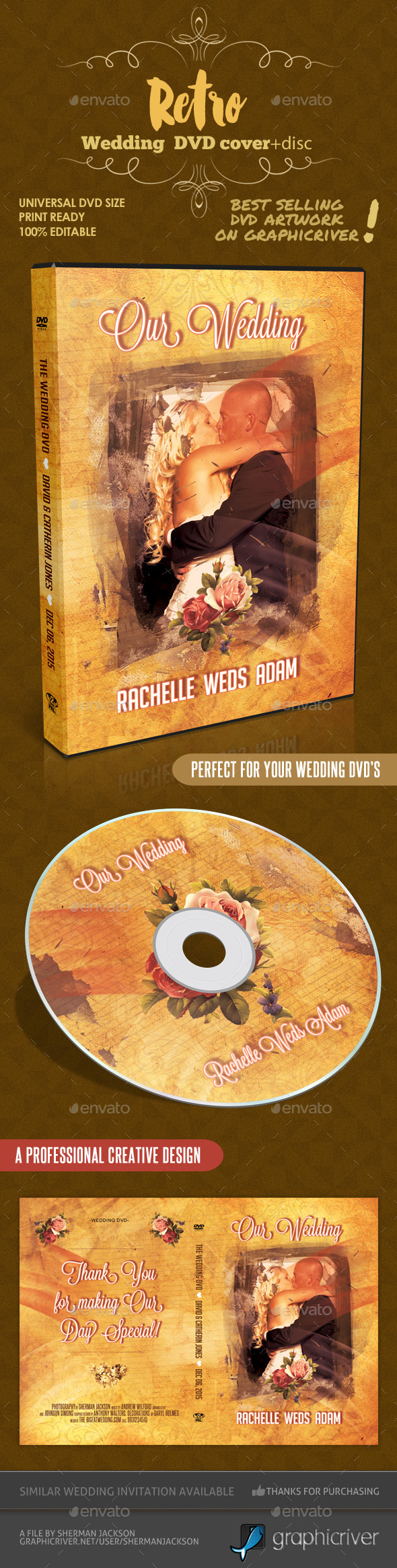 Retro Wedding DVD Cover Template & Disc Artwork - CD & DVD Artwork Print Templates