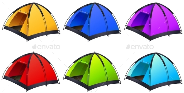 Set of Different Coloured Tents - Man-made Objects Objects