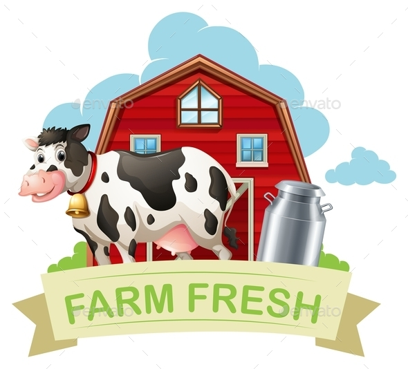 Farm Fresh with Text - Animals Characters