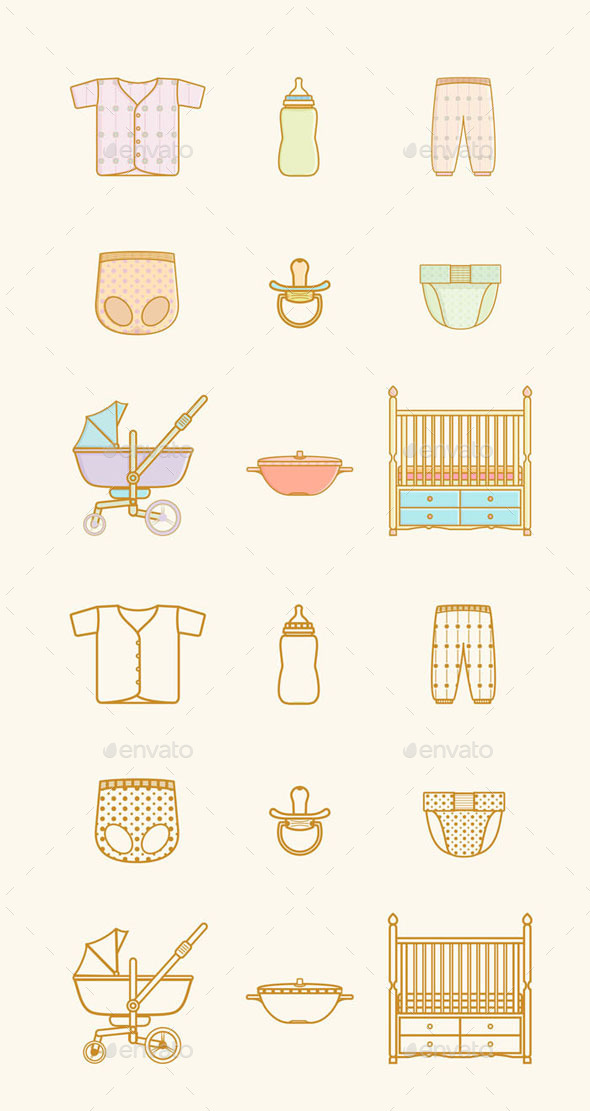 Baby Equipment Icons Set - Miscellaneous Icons