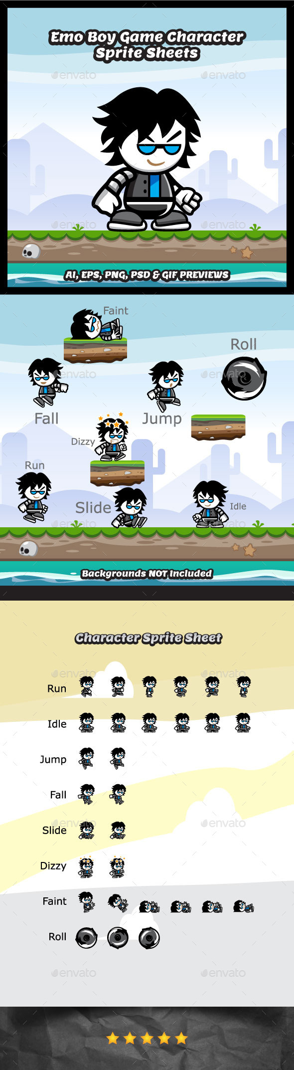 Emo Boy Game Character Sprite Sheets - Sprites Game Assets