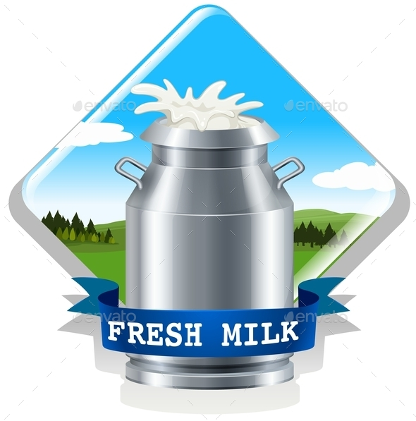 Fresh Milk with Text - Food Objects
