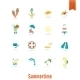 Summer And Beach Simple Flat Icons - GraphicRiver Item for Sale