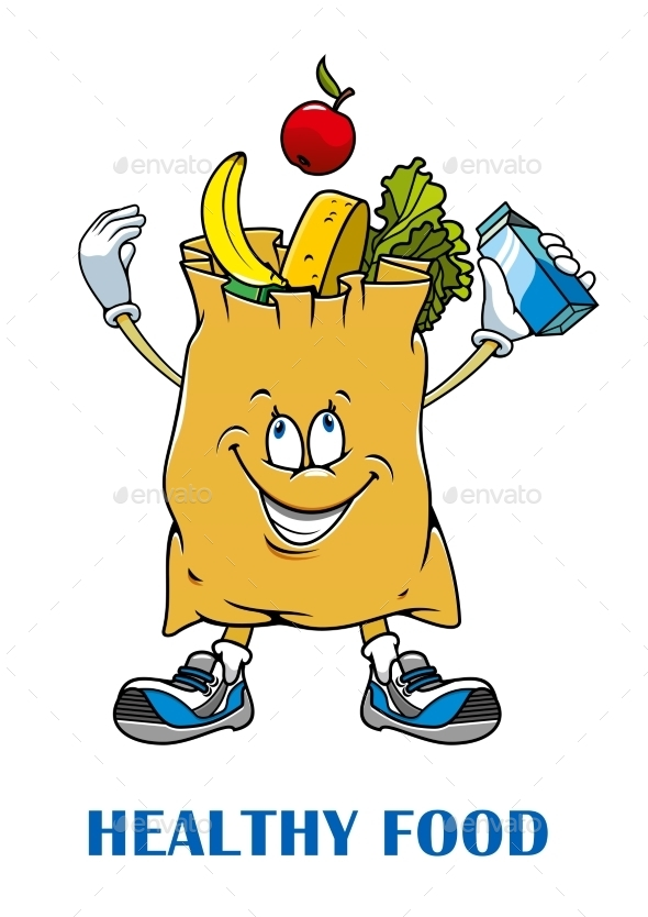 Shopping Bag with Healthy Food - Food Objects