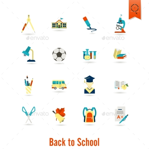 School And Education Icons - Objects Vectors