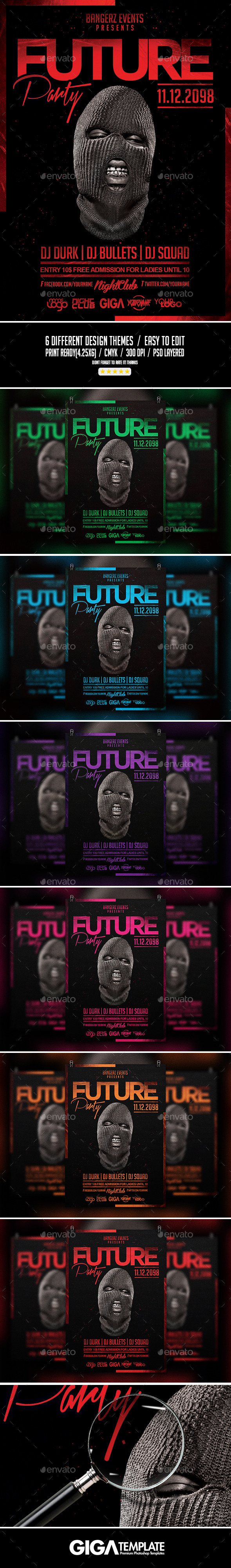 Future Party | Hip-Hop Night Flyer PSD Template - Events Flyers