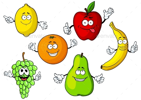 Cartoon Tropical And Garden Fruits Characters - Food Objects