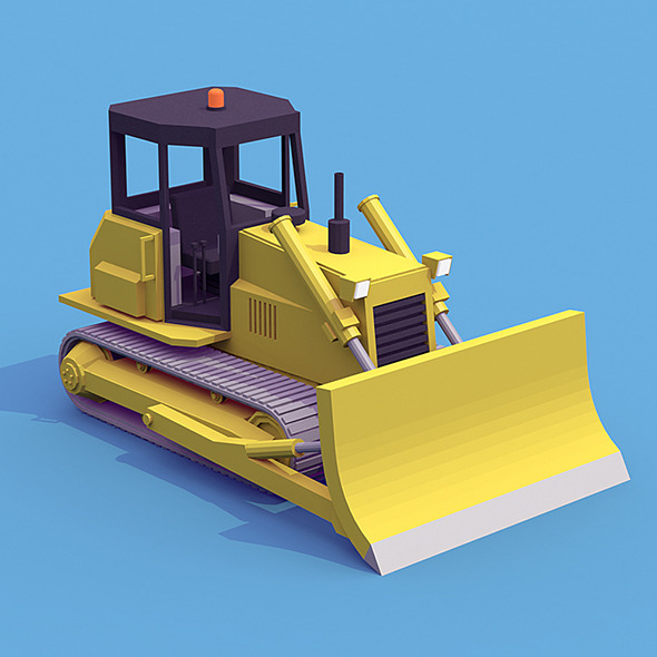Bulldozer low poly - 3DOcean Item for Sale