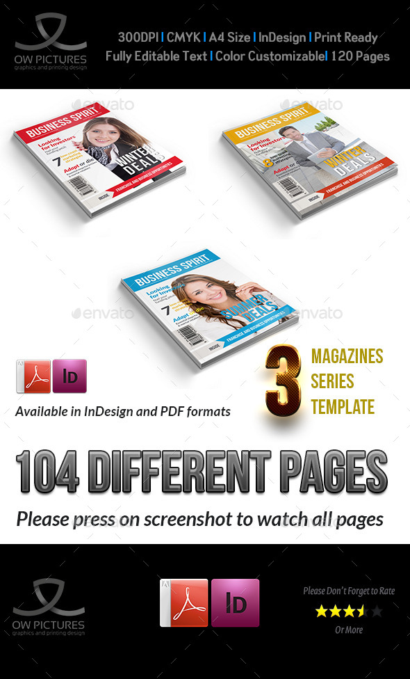 3 Series Magazines Bundle Template - 104 - Magazines Print Templates