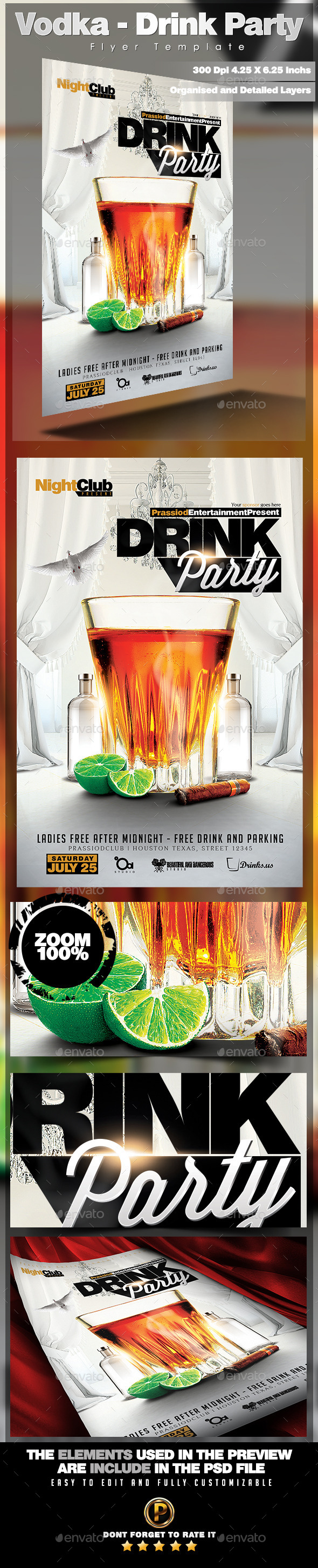 Vodka - Drink Party Flyer Template - Clubs & Parties Events