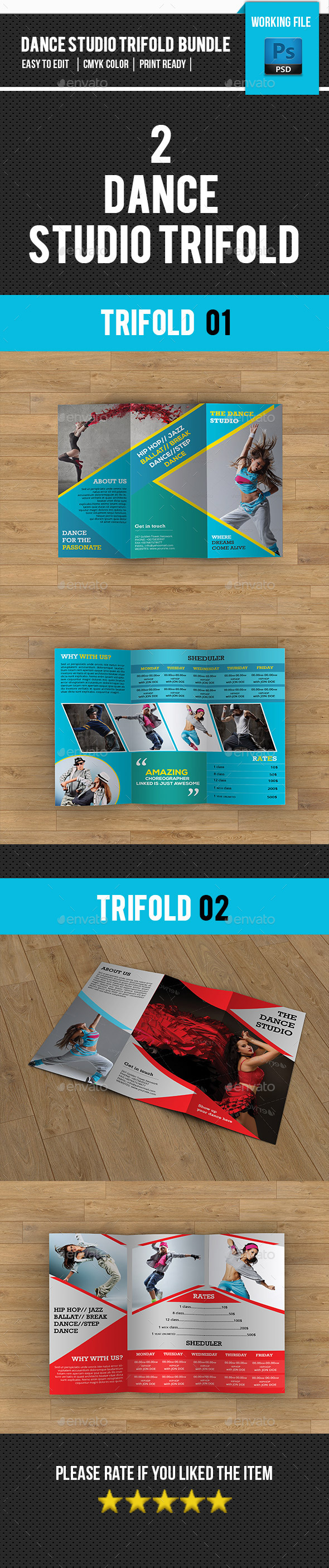 Dance Studio Trifold Brochure Bundle-V13 - Corporate Brochures