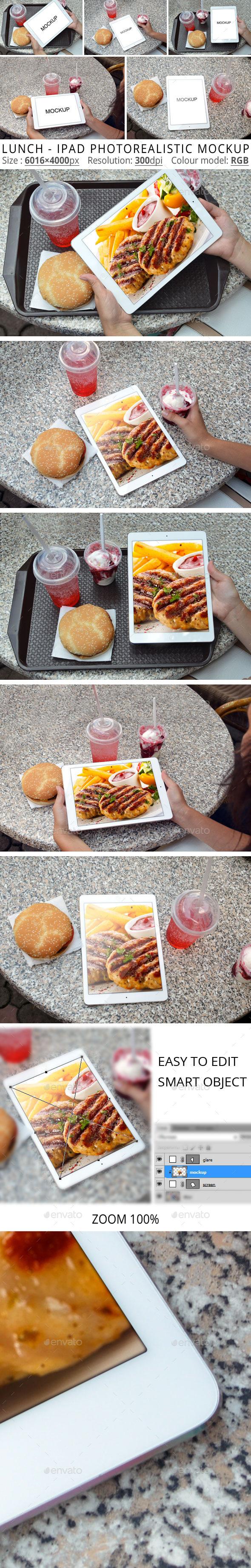Lunch - IPad Photorealistic MockUp - Mobile Displays