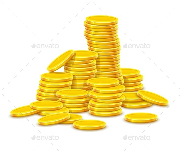 Gold Coins Cash Money in Hill Rouleau - Man-made Objects Objects