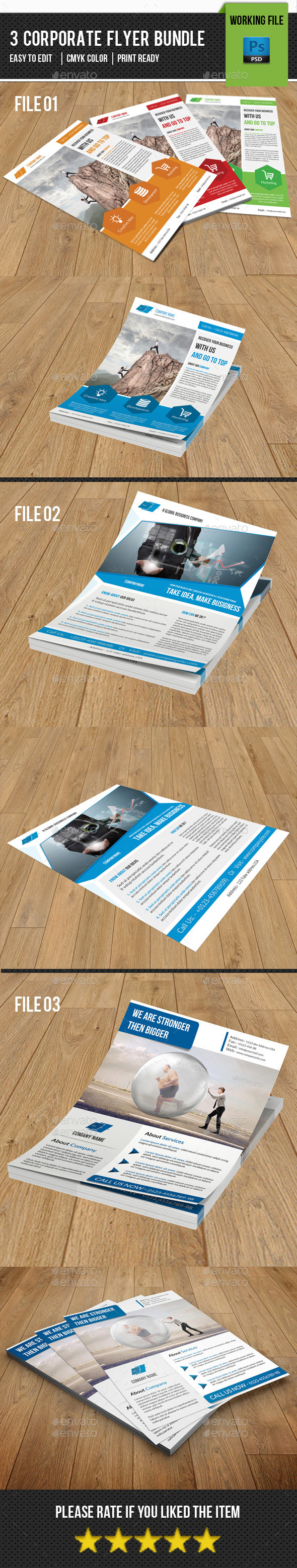 3 in 1 Corporate Flyer Bundle-V06 - Corporate Flyers