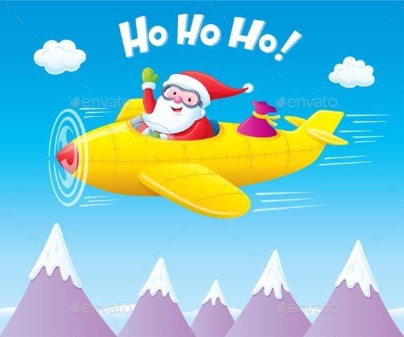 Santa Claus Flying An Airplane - Christmas Seasons/Holidays