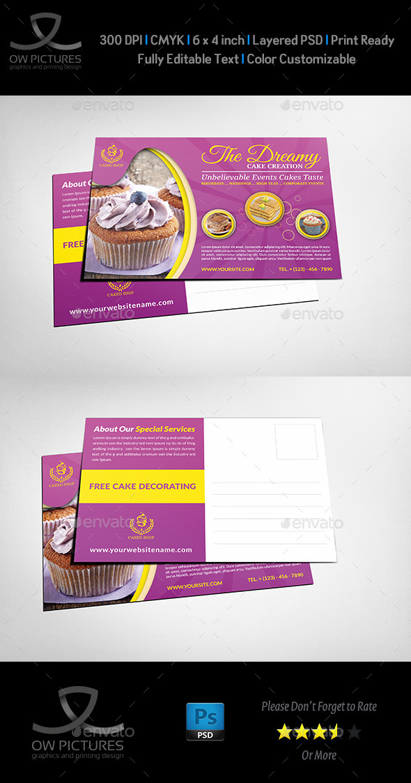 Cake Shop Postcard Template - Cards & Invites Print Templates