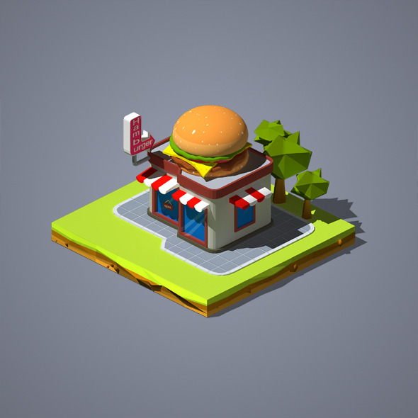 Hamburger Shop - 3DOcean Item for Sale