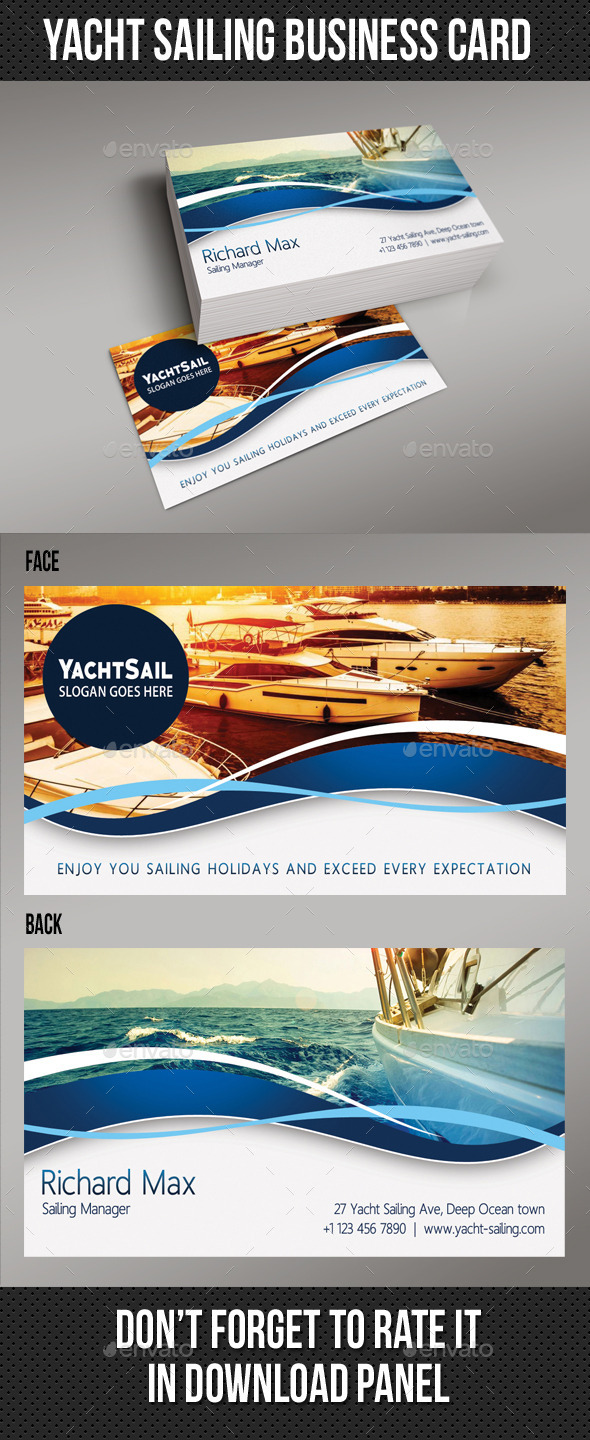 Yacht Sailing Business Card 02 - Industry Specific Business Cards
