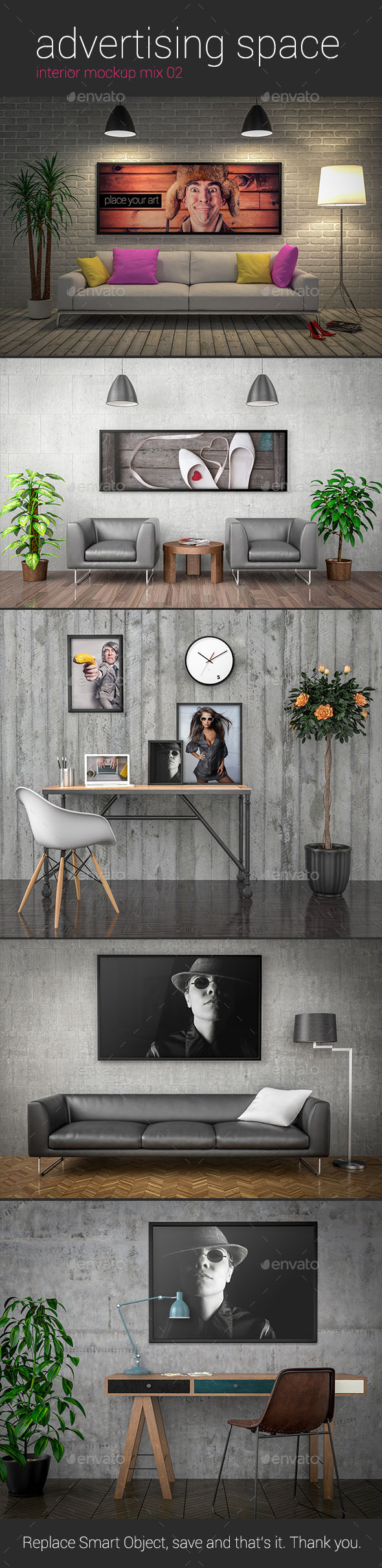 Advertising Space Interior Mockup Mix 02 - Posters Print