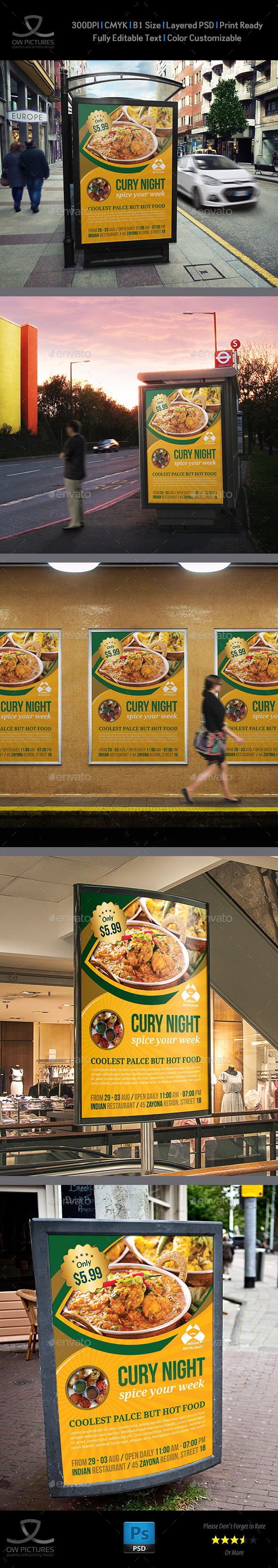 Indian Restaurant Poster Template - Signage Print Templates