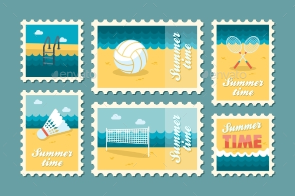 Summertime Stamp Set Flat - Seasons Nature