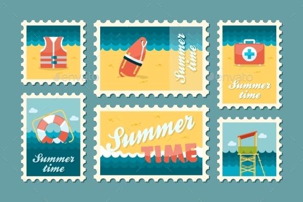 Summertime Stamp Set Flat - Seasons Nature