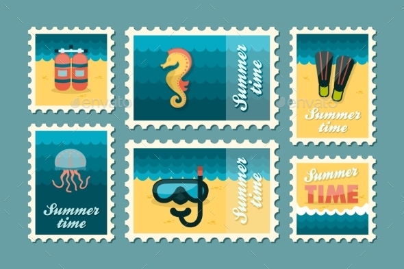 Summertime Stamp Set Flat - Travel Conceptual
