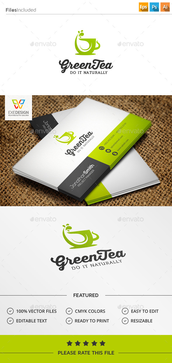 Green Tea Logo - Food Logo Templates