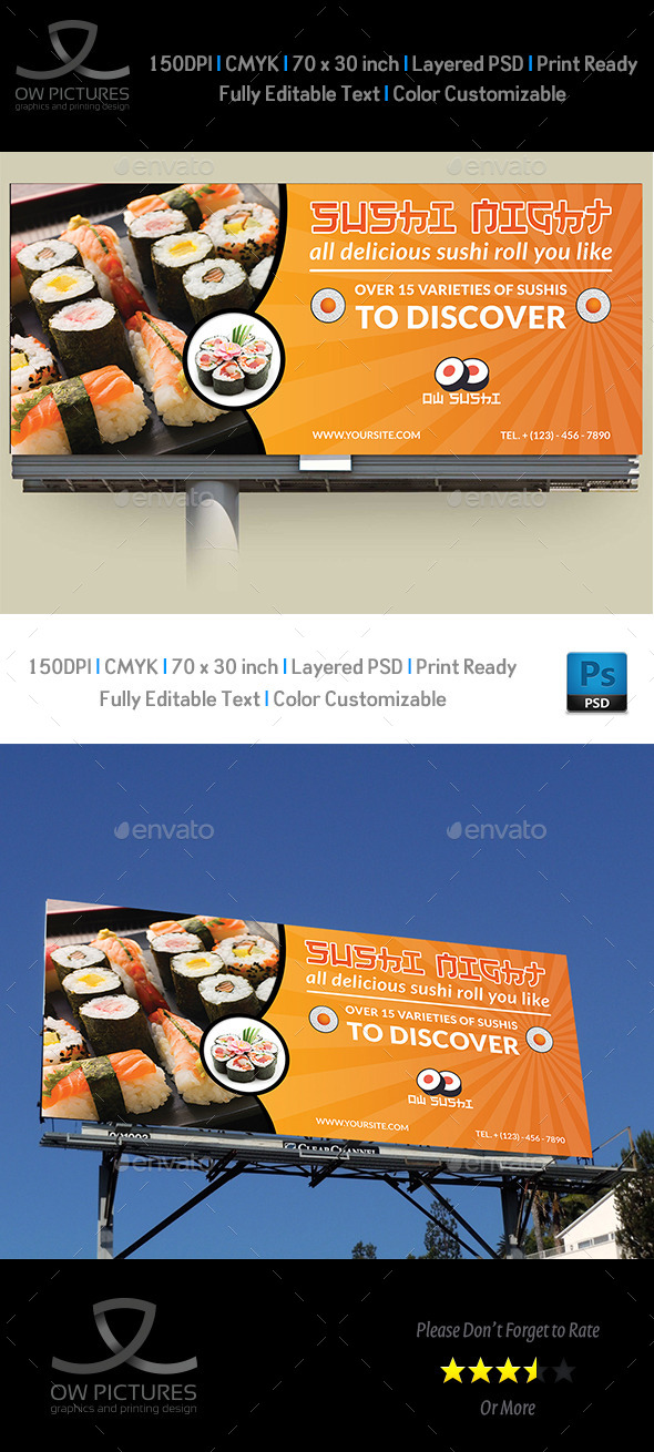 Sushi Restaurant Billboard Template - Signage Print Templates