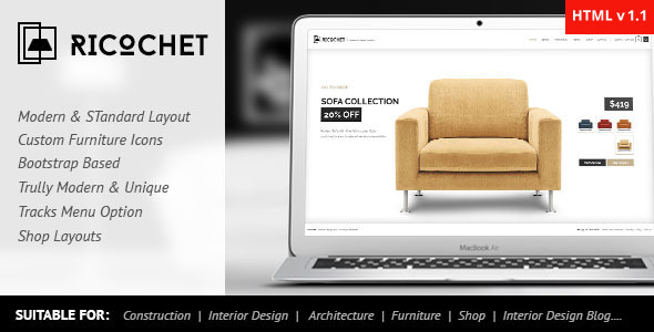 Ricochet – Interior, Architecture, Corporate HTML5