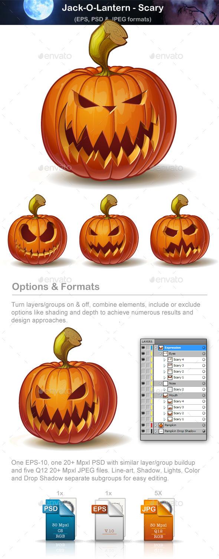 Jack-o-Lanterns - Scary - Halloween Seasons/Holidays
