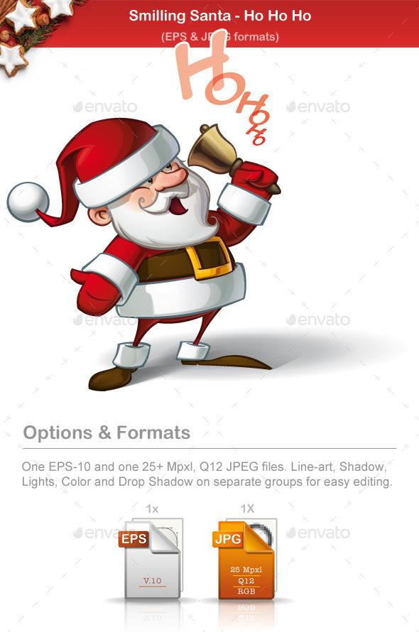 Smilling Santa - Ho Ho Ho - Christmas Seasons/Holidays
