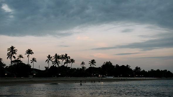 Tropical Palm Beach after Sunset