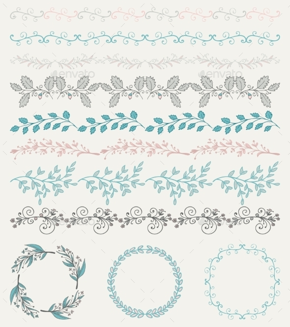 Colorful Hand Sketched Seamless Borders - Borders Decorative