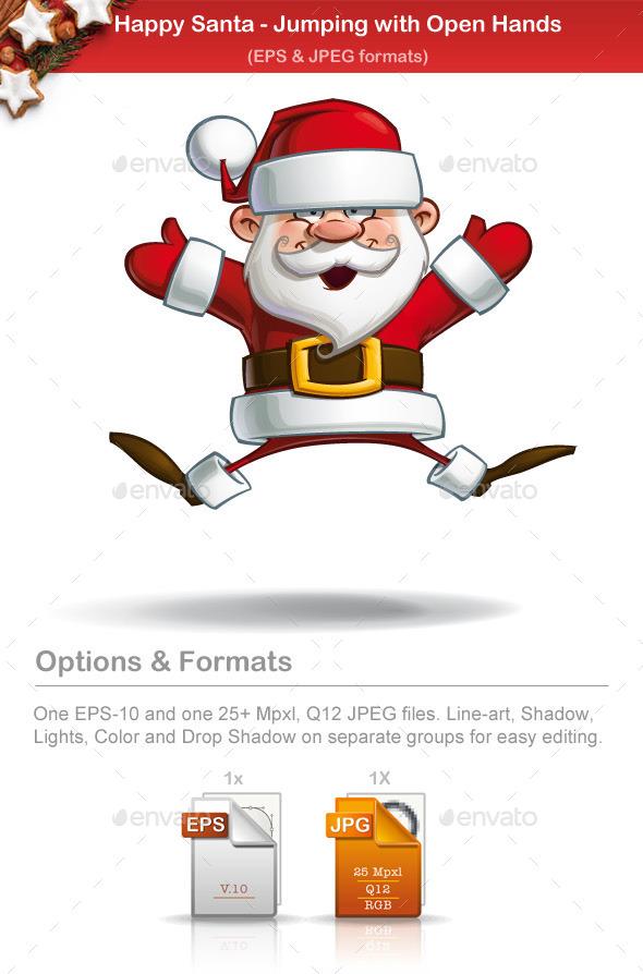 Happy Santa - Jumping with Open Hands - Christmas Seasons/Holidays