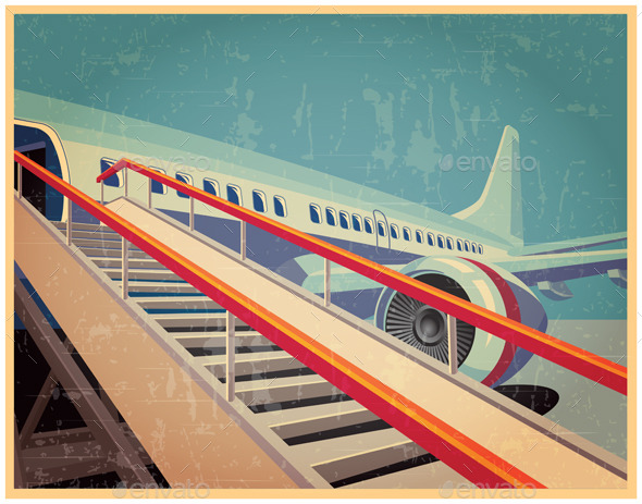 Vintage Poster with Passenger Jet - Retro Technology