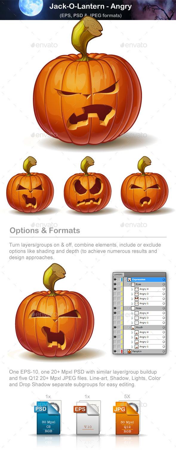 Jack-o-Lantern - Angry - Halloween Seasons/Holidays