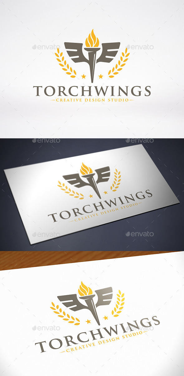 Torch Wings Logo Template - Objects Logo Templates