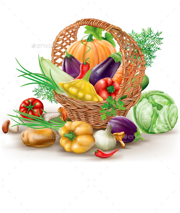 Basket with Vegetables - Food Objects