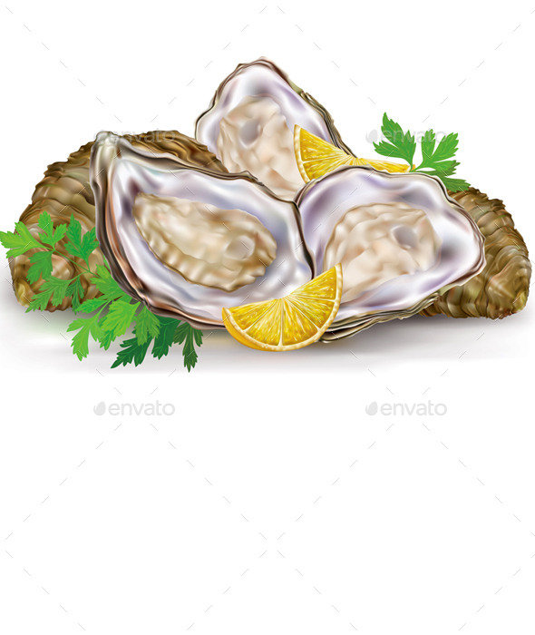 Fresh Oysters with Lemon - Food Objects