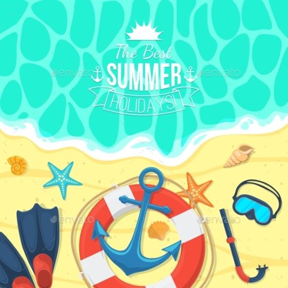 Sea Shore And Swimming Accessories.  - Miscellaneous Vectors