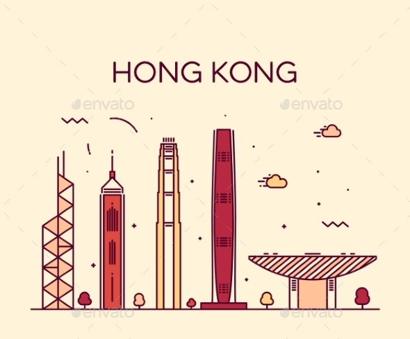 Hong Kong City Skyline Detailed Silhouette Vector - Buildings Objects