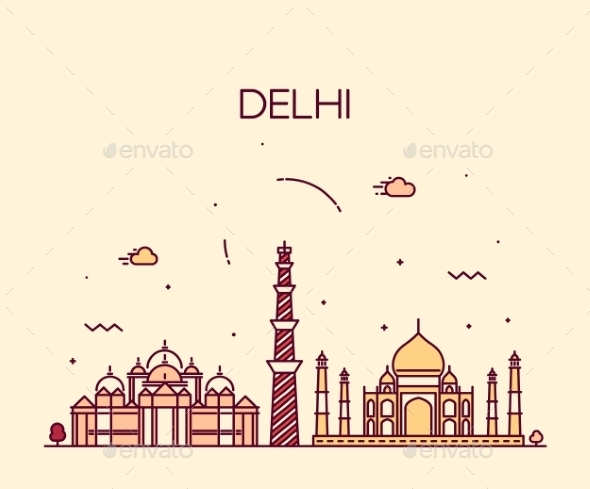 Delhi City Skyline Trendy Illustration Line Art - Buildings Objects