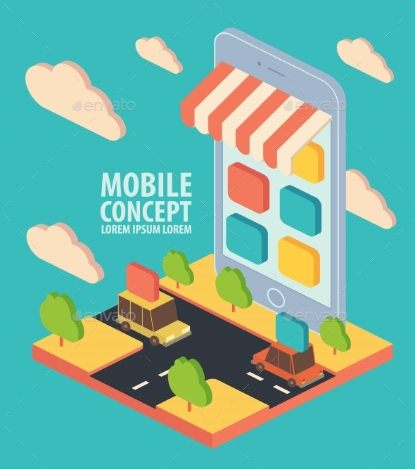 Flat Isometric Vector Phone Application Concept - Retail Commercial / Shopping