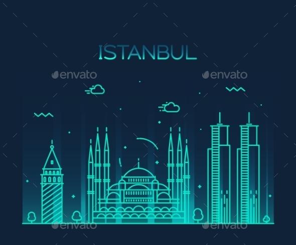 Istanbul City Skyline Vector Illustration Line Art - Buildings Objects