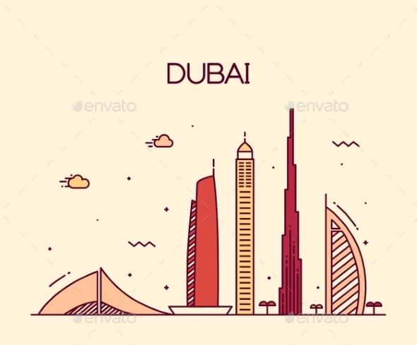 Dubai City Skyline Trendy Vector Line Art - Buildings Objects