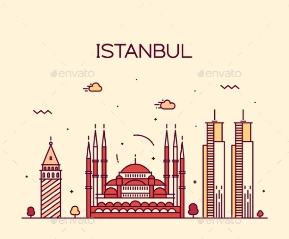 Istanbul City Skyline Vector Illustration Line Art - Buildings Objects