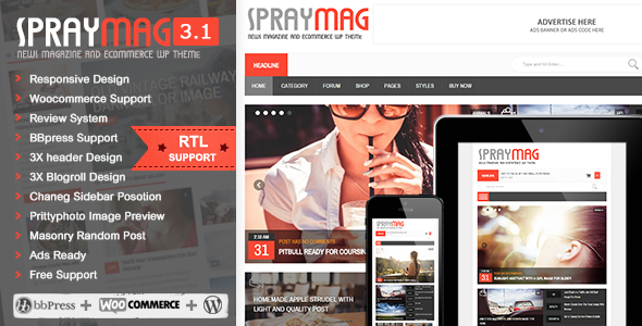 Spraymag - eCommerce, Magazine, Responsive Blog design - News / Editorial Blog / Magazine