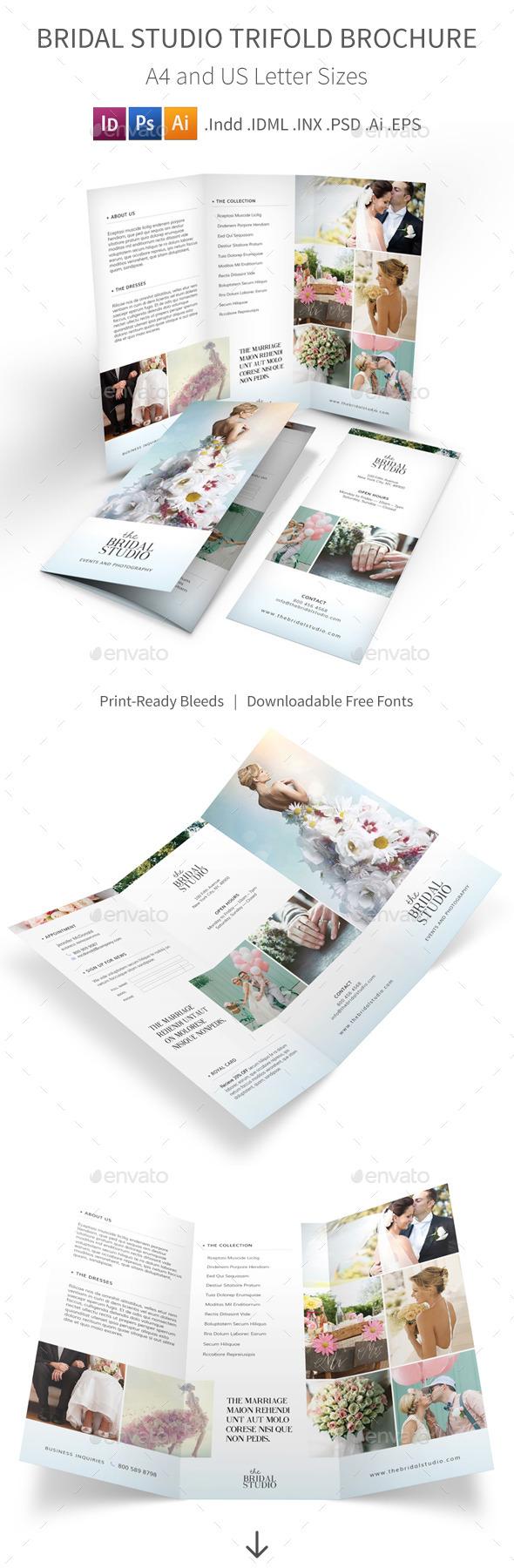 Bridal Studio Trifold Brochure - Informational Brochures