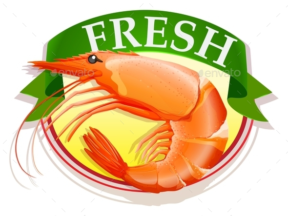 Fresh Shrimp with Text - Food Objects